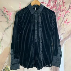 Free People Striped sheer Velvet Button Down